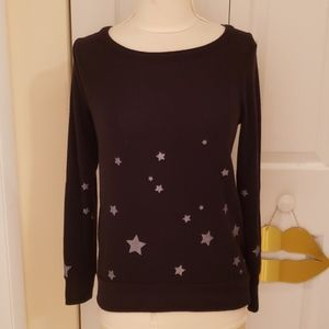 Chaser Star Print Black Scoop Neck Sweatshirt